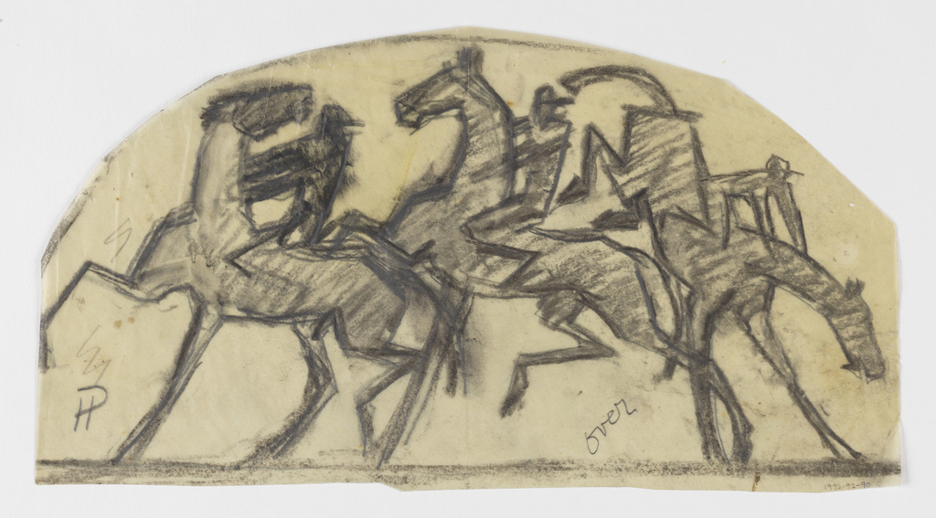 On curved irregular sheet, three pairs of jockeys on horseback, the figure at left riding a bucking horse. At lower left, a pilcrow symbol.