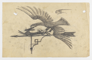 Design for a weathervane to be executed in iron. Upon the arrow, a hare runs from a swooping eagle, who lowers its mouth to the hare's ear. At upper right, study of the profile of the eagle.