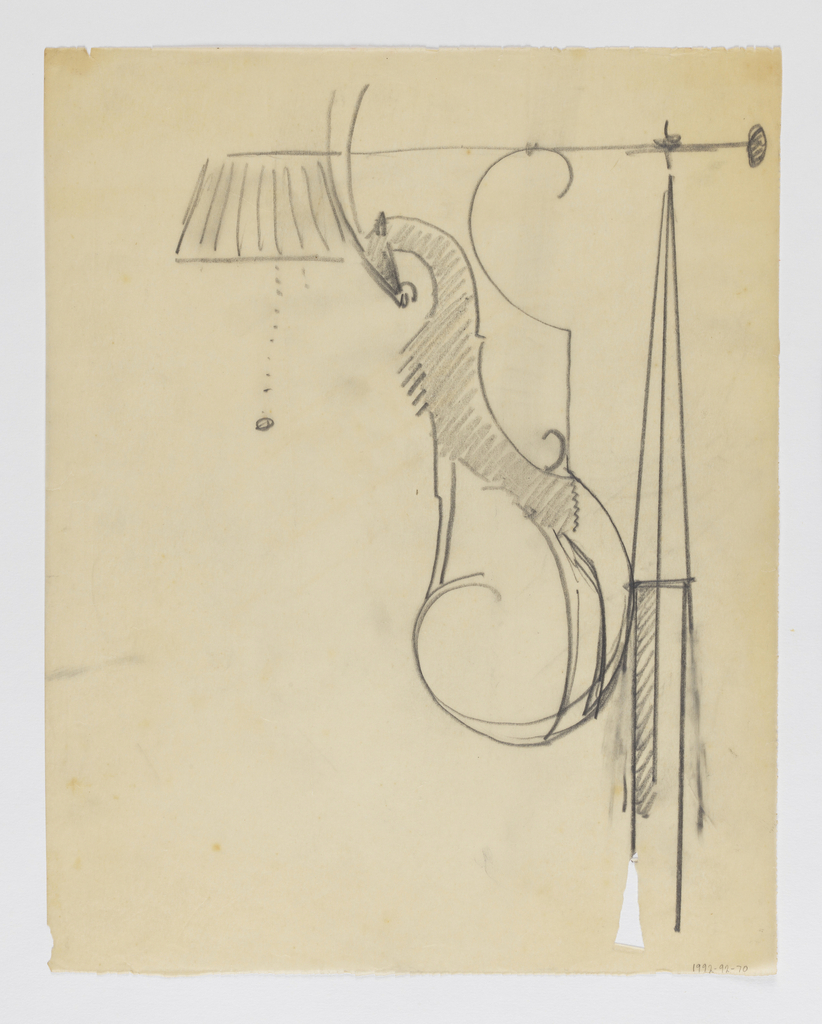 Design for a wall-mounted sconce with lampshade and pull intended to be executed in ironwork. Within the bracket, a standing antelope.