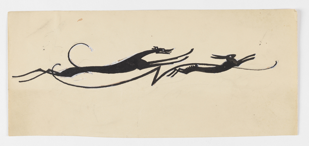 Drawn silhouette of a hound chasing a hare, all of their limbs raised from the ground in motion. Between the two animal figures, a swirling line with a jagged form at center.