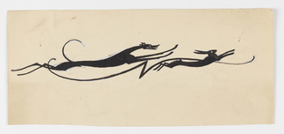 Stylized composition of an elongated hound chasing a rabbit, all of their limbs raised from the ground in motion. Between the two animal figures, a swirling line with a jagged form at center.