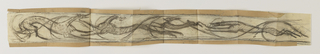 A design for a frieze intended to be executed in ironwork. Three hounds, their bodies partially overlapping, are chasing a hare.