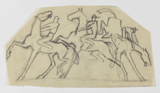 On irregular sheet, three pairs of jockey figures on horseback, the figure at right riding a bucking horse.