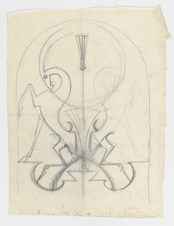 Design for a torchère with an arched frame. Within, a symmetrical composition of two ibex, each with one leg raised, facing away from another, their horns curving towards the upper center of the stand.