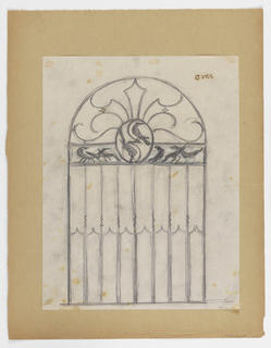Design for a gate to be executed in iron with a frieze filled with birds. Two additional birds are positioned within a circle at center.