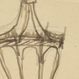 Design for a window grille to be executed in iron. Within an upright rectangular frame, a vase with ornamental flowers.