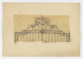 """Design for the ornamentation of the top of a gate to be executed in iron, with two horses facing each other and crossing legs at upper center; a lantern below them and a crest with the initial """"R"""" above."""