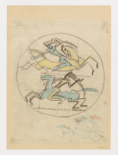 Within a circular frame, two figures of warriors riding on horseback. Above, a blue figure on a yellow horse facing right. Below, a yellow figure on a blue horse facing left. Gridlines in background. At lower right, a sketch of a figure in blue color pencil.
