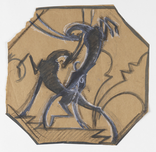 On an octagonal sheet, a depiction of two bucking antelopes locking horns. In the background, abstract geometric pattern. Black border.