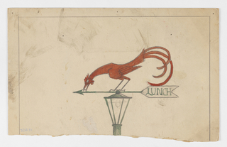 """Design for a lampost with an arrow sign mounted on top, both in green. On the rear of the arrow, the word """"LUNCH."""" Atop the arrow, a red rooster crouching to eat."""