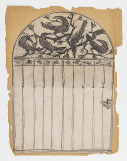 Design for an iron gate with an ornamental frieze at upper center filled with birds.