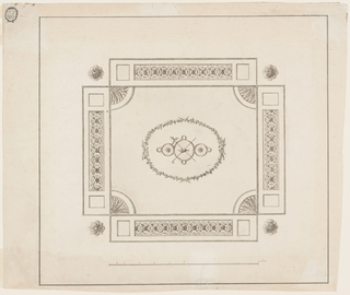 "Horizontal format design for an oblong plaster ceiling. Rosettes in the four corners. In the center is an ovoidal wreath formed by twigs within which are slopes formed by a garland. In the center is an urn, crossed, a thyrsus and a shepherd's staff. The field is a rectangle, with parts of rosettes in the corners and tangent oblongs outside. They are decorated with two empty oblongs, laterally, and with a frieze of intertwined circles and segments with rosettes. Below the scale; ""Feet."" Two framing lines."
