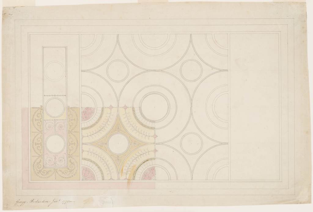 Horizontal format design for an oblong plaster ceiling. Shown are the scheme of the decorations of the central square and of the left sections and the decoration of the lower left quarter of the ceiling. Interlaced ribbons form in the central part one large circle and segments. They are subdivided in smaller circles.