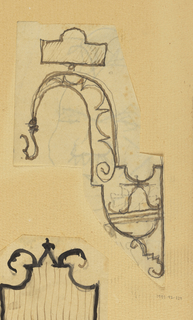 Design for a wall-mounted bracket to be executed in iron, ending in a hook.