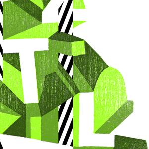 On white ground, typographical design composed of white letters arranged at various angles spelling the name of the jazz festival, each letter with three-dimensional block forms in various shades of green. Throughout composition, several vertical bars with diagonally striped black and white lines.
