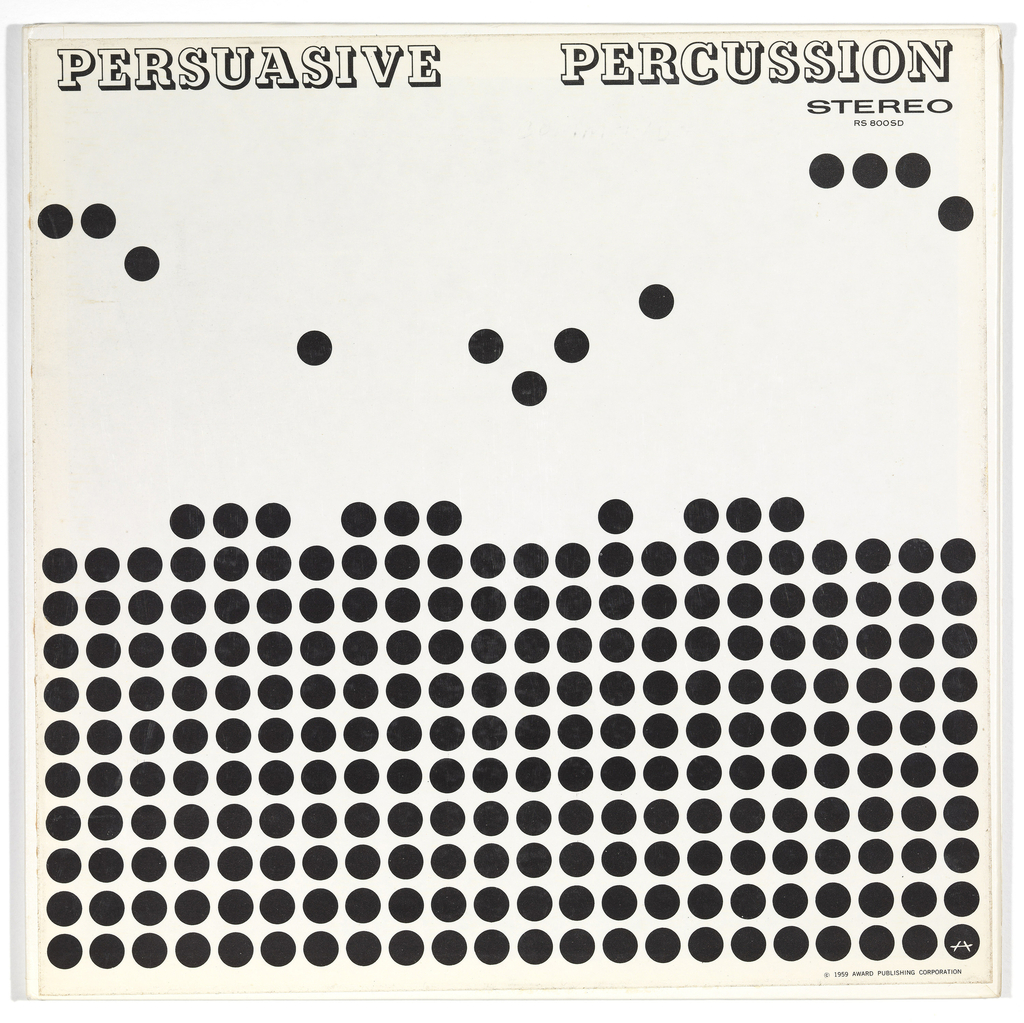"The album cover image consists of a grid of black dots arranged in ten stacked rows on a white field. Some of the dots that form the eleventh row float above the others and create a syncopated rhythm. The words Persuasive Percussion are printed across the top edge of the cover.  Top right, printed in black: Stereo / RS 800 SD Bottom right printed in black: C 1959 Award Publishing Corporation Bottom right black dot has a symbol resembling an ""A"""