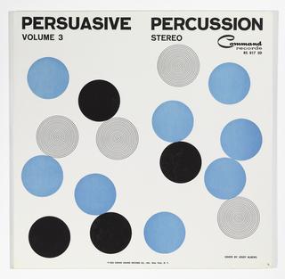Scattered blue and black dots, and concentric circles that read as grey dots float across a white field. The words PERSUASIVE PERCUSSION are printed in bold black type across the top edge, with VOLUME 3  and STEREO below. At top right under the title is the Command recors logo and RS 817 SD below. At bottom center is @ 1960 Grand Award Record Co., INC. New York, N.Y. and at lower right: Cover by Josef Albers