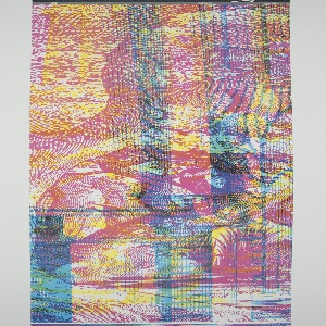 Scenic wallpaper design consisting of an architectural interior, a landscape view, and a scene with figures and satyrs, printed one on top of another. When viewed under normal lighting the scene is illegible, but when viewed through a red, green or blue lens a different scenic pattern is revealed with each color.