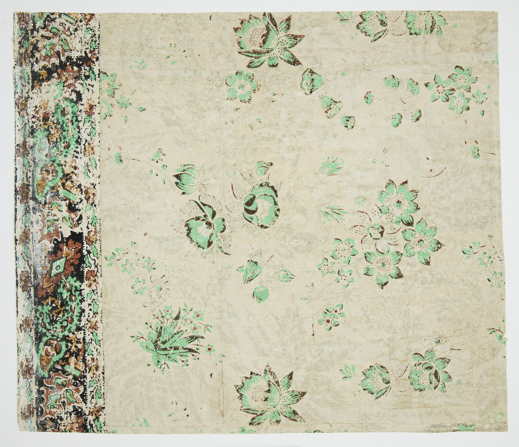 Vining floral design. Most of pattern has faded out, leaving bright green flowers. A border runs along the top edge. Green and rust-color flowers, with narrow band along both top and bottom edge of border. Border simulates applique or textile. Green color possibly contains arsenic.