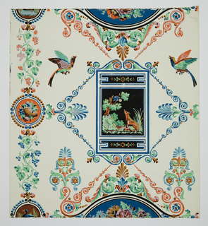In Greek revival style. The fable of the fox and crow depicted in central framed medallion with black background: surmounted by fruit, flowers, grape vines, Greek palmettes, birds, scroll-work. Printed in 9 colors: orange, brown, blue, black and lavender on white satin ground.