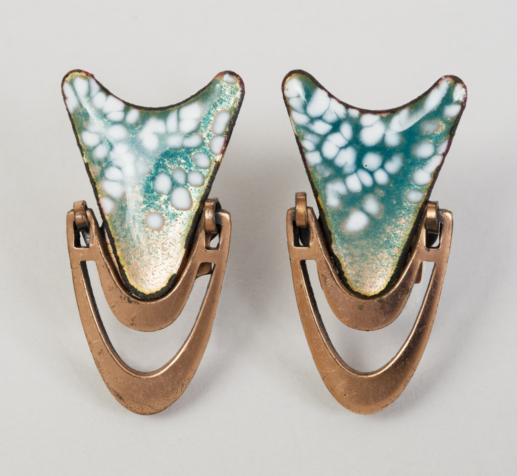 Cooper earrings of biomorphic form with accents of white and blue enamel