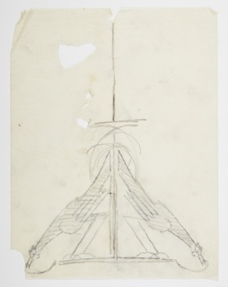 Design for a chandelier to be executed in metal, the fixture by a symmetrical pair of birds, their beaks lowered, legs bent, and tails raised.
