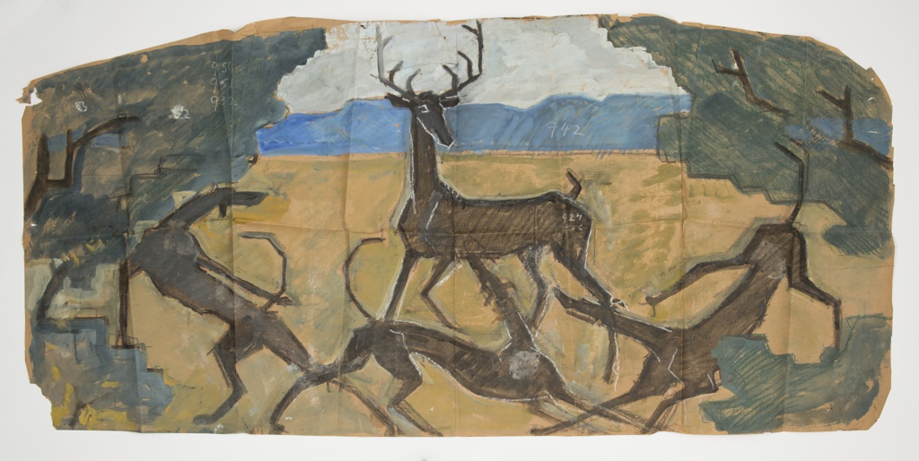 On an irregular oval sheet, colorful design featuring a landscape scene. In a clearing in the woods, at center stands a large male deer or stag. Surrounding the animal is a pack of three attacking hounds. Verso: the same design rendered in charcoal without the addition of the landscape.