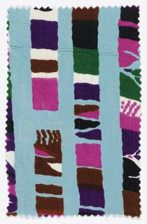 Fragment with a blue ground printed in colored stripes of pink, brown, white, purple, black, and green.