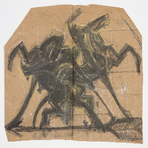 Design for a weathervane intended to be executed in iron. Standing upon the base of the arrow, two figures of polo players on horseback twisting and turning in sport.
