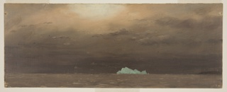 Small green-blue iceberg is shown against a dark clouded sky on horizon of brown waters. Glow from moon or sun at top center. Sky tones of brown. A coastline is in the right distance.
