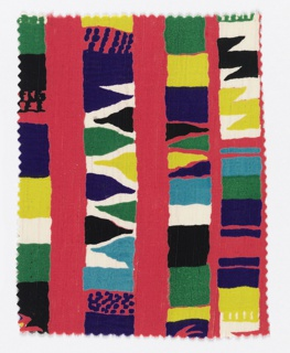 Fragment with a pink ground printed in colored stripes of green, yellow, purple, black, blue, and white.
