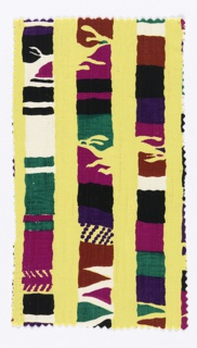Fragment with a yellow ground printed in colored stripes of purple, green, black, brown, and reddish-purple.