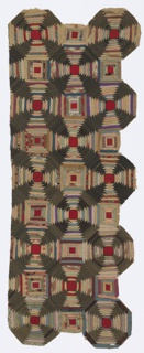 Fragment of a patchwork quilt top with a design of concentric octagons made from folded strips of woven and printed fabrics, primarily gray, dull green and reddish tones. Backed with brown printed cottons.