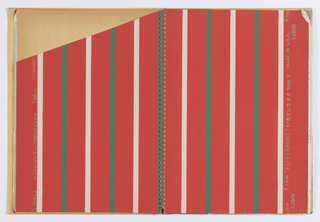 Twenty-five examples of striped wallpaper with four examples of complimentary plain paper. Paper cover. Contemporary designs.