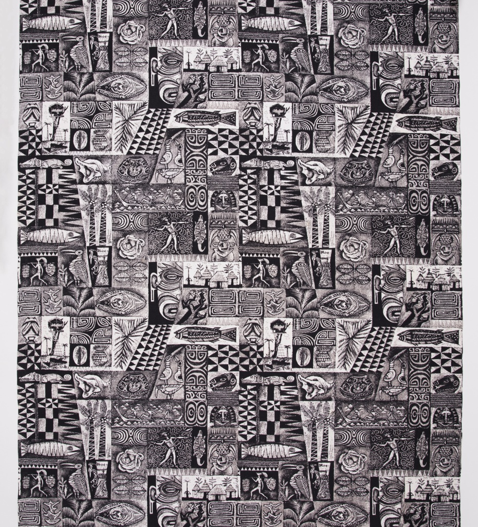 "Yard goods; a Riverdale Fabric, ""Pagan Magic"" designed by Aaron Bohrod of Associated American Artists, 1952."