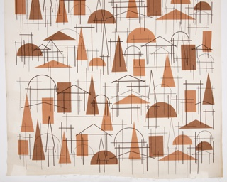 Length of printed textile with a highly abstracted urban landscape composed entirely of solid rectangles, triangles and half-circles, and line versions of the same.