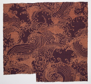 Pinkish-orange curvilinear design of swirling waves on a purple ground.