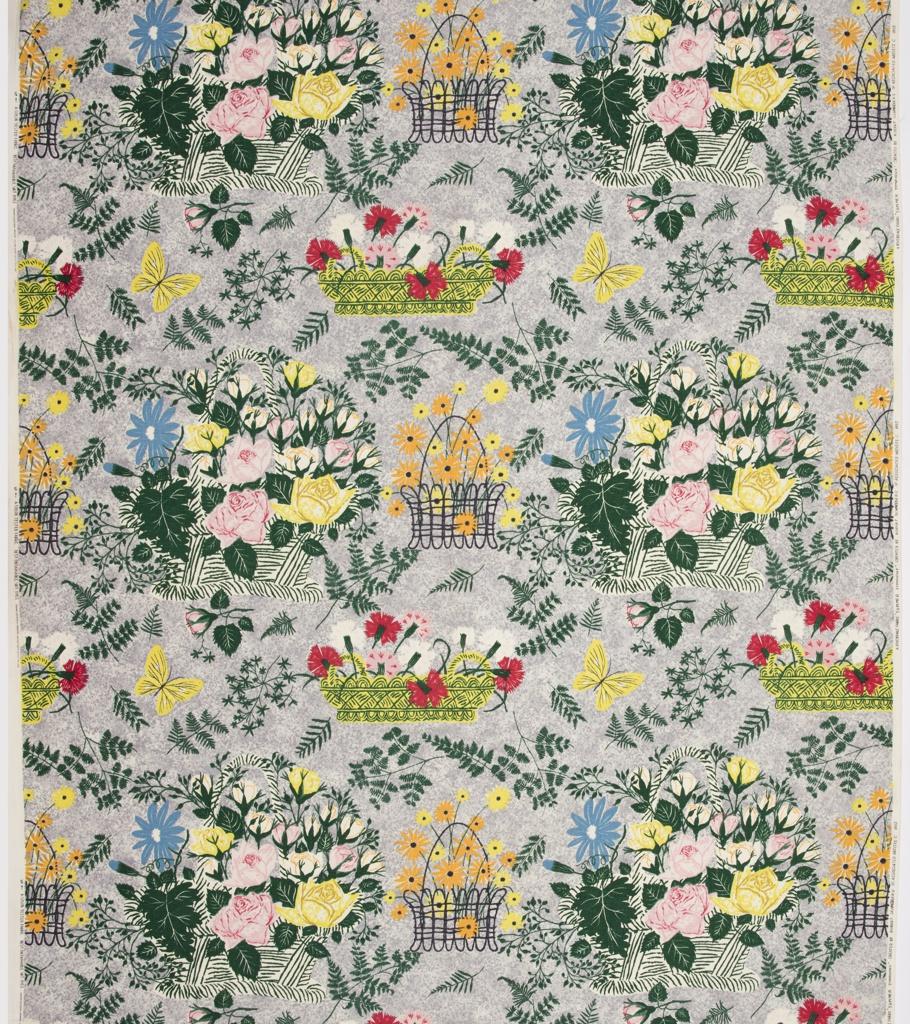 "Yard goods; a Riverdale Fabric, ""Summer Symphony"" designed by Robert Schneeberg of Associated American Artists, 1952."