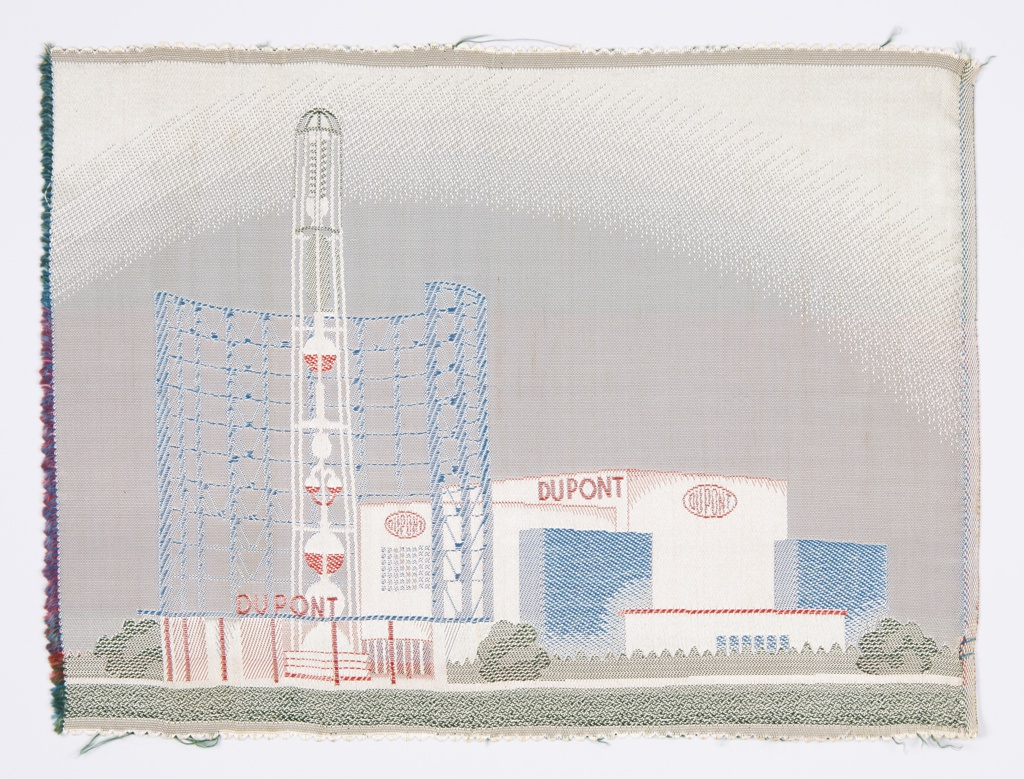 Woven souvenir depicts the DuPont Chemistry Wonder World at the 1939 New York's World's Fair.