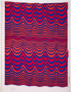 Doubleknit ground with a pattern of undulating horizontal stripes or waves in red and blue.