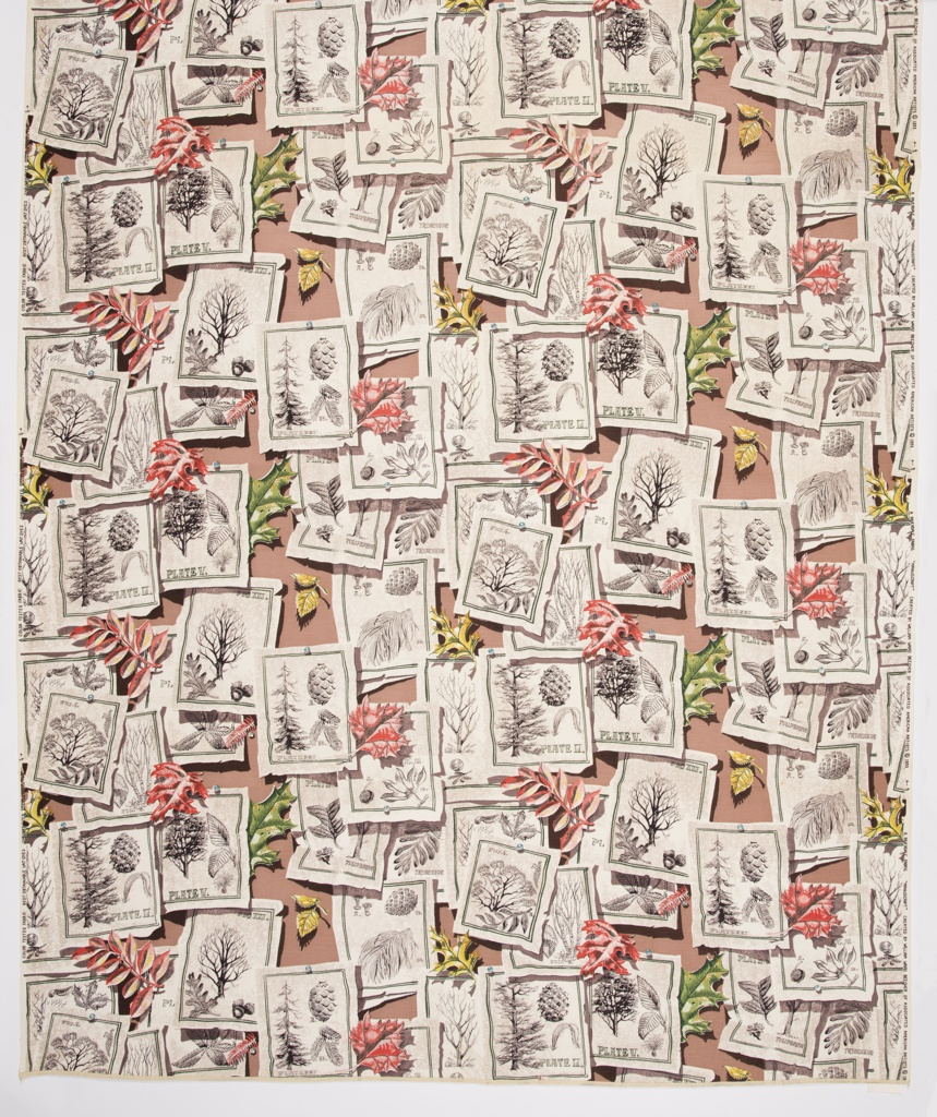 "Yard goods; a Riverdale Fabric, ""Manuscript"" designed by William Ward Beecher of Associated American Artists, 1953."