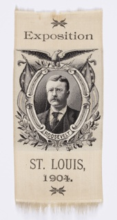 "Commemorative black and white bookmark of President Theodore Roosevelt made for the Louisiana Purchase Exposition, an international exposition celebrating the centennial of the Louisiana Purchase. Roosevelt is shown in a portrait medallion surmounted by an eagle. Inscription at top reads: ""Exposition."" At bottom is another inscription: ""St. Louis 1904."""