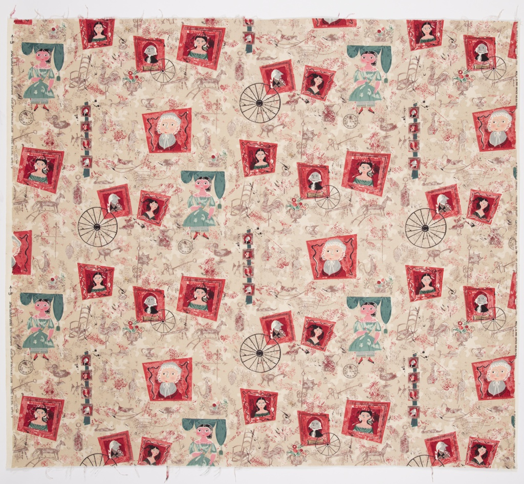 """Yard goods; a Riverdale Fabric, """"Family Album"""" designed by Laura Jean Allen of Associated American Artists, 1952."""