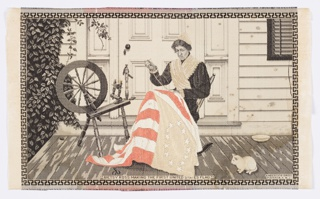 Woven picture of a seated Betsy Ross sewing the first American flag was made for the Louisiana Purchase Exposition or as it was commonly known, the St. Louis World's Fair of 1904. Betsy Ross sits with the flag on the front porch of a clapboard house with a spinning wheel and cat. Scene was originally flanked by the 1905 calendar: first half of the year on the left and the second half on the right. Both have been cut away.