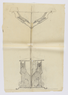 Design for a floor lamp with two light fixtures intended to be executed in ironwork. Each fixture is adorned with a bird. Three cats are seated to form a tripod base.
