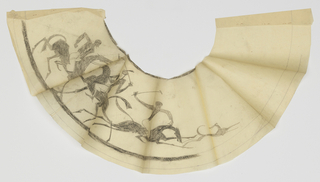 Design for a lampshade intended to be executed in ironwork. Depiction of three polo players, one pair posed horizontally and facing one another, each on horseback, with their arms raised and holding mallets. The third player is chasing a hound.