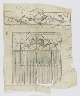 Design for a balcony grillwork and gate intended to be executed in ironwork. Above, a depiction of three hounds surrounding a stag posed horizontally and facing one another. Below, the top of the gate depicts two horses with legs raised.