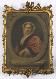 Portrait bust of a woman in a white bonnet, wearing a pink fur-lined robe with white ruffles, in oval trompe l'oeil frame.