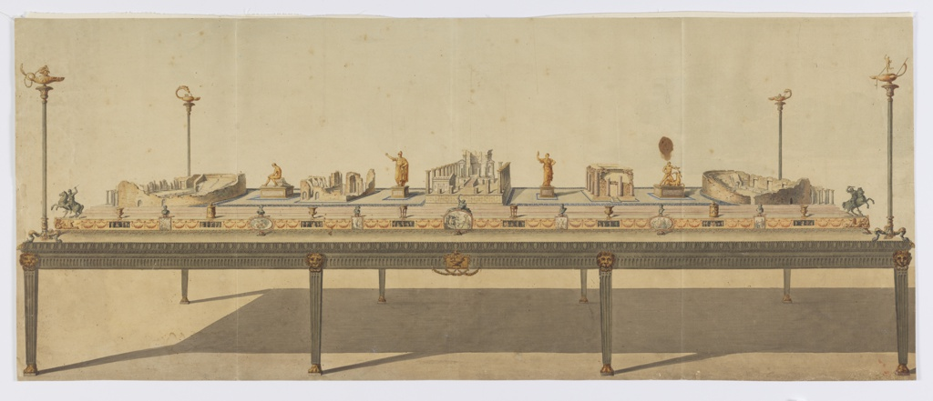 Design for a surtout de table (table centerpiece) whose theme is the ruins of Pompeii. The table's legs are straight with fluting and a gilded lion mask. The sides of the tables are decorated with rows of moldings, the top being egg-and-dart. At each corner is a high oil lamp in the antique style. The center of the table is stepped. The sides are decorated with figural tablets and swags. Each tablet is topped by a miniature urn, bust, or sculpture. The center of the table features architectural ruins and gilded sculptures on inscribed plinths.