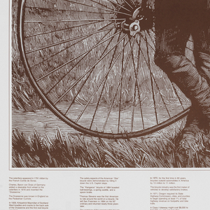 On white ground, square format photoillustration of a male figure with a moustache and hat standing in front of a penny-farthing (high wheeler bicycle) in a grassy field. Above, in large brown printed text: Ride on!